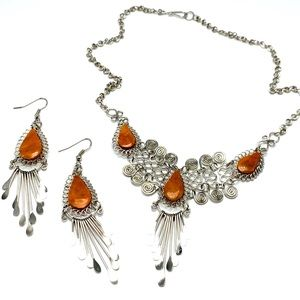 Handmade jasper and silver delicate and dangly set